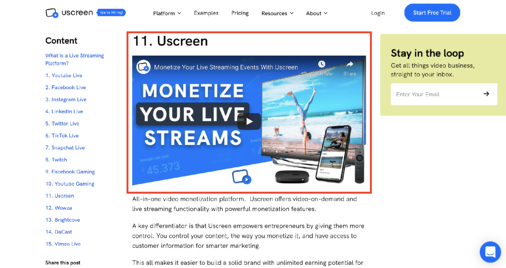 Example of Video on Blog Post by Uscreen