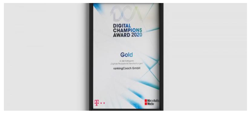 Digital Masterclass: rankingCoach Wins DIGITAL CHAMPIONS AWARD 2020